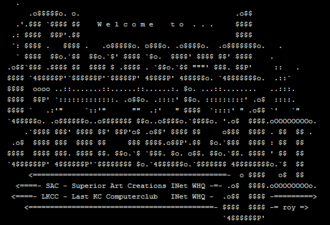 "New media art - Newskool ASCII Screenshot with the words ""Closed Society II"""