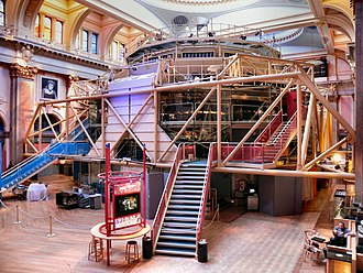 Royal Exchange, Manchester - The exterior of the circular theatre pod in the Great Central Hall
