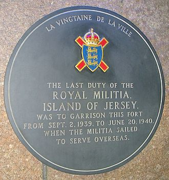 Royal Militia of the Island of Jersey - Plaque, Fort Regent