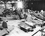 Royal Navy aircraft in hangar at NAS Brunswick in 1944.jpg