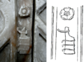 RudderHeraldicBadge MonumentTo RobertWilloughby 1stBaronWilloughbyDeBroke Died1502 CallingtonChurch Cornwall.png
