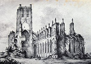 Siege of Saint-Omer - Lithographie representing the ruins of the church of Saint Bertin, by Ulysses Delhom.