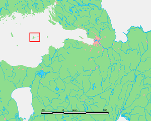 Moshchny Island - Moshchny island's location in the Gulf of Finland.