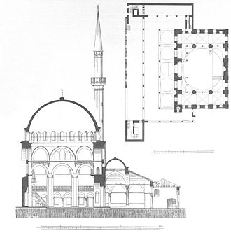 Rüstem Pasha Mosque - Section and plan of the mosque published by Cornelius Gurlitt in 1912