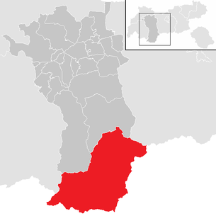 Location of the municipality of Sölden (Ötztal) in the Imst district (clickable map)