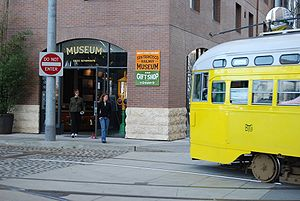 San Francisco Railway Museum - A streetcar about to pass the museum entrance on Steuart Street