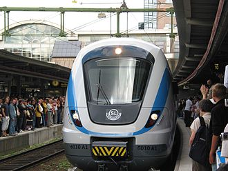 Storstockholms Lokaltrafik - A commuter train with the SL logotype at Stockholm Central station
