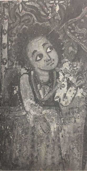 Sabagadis Woldu - A portrait of Sabagadis worshipping St. Mary, on the wall iconography at the church of Gunda Gunde, Tigray.