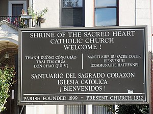 Shrine of the Sacred Heart - Sacred Heart's multilingual sign