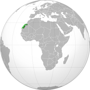 Sahrawi Arab Democratic Republic (orthographic projection) highlighted.svg