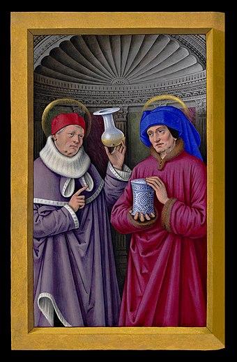 Ikona svatých Kosmy a Damiána, arabských lékařů a starokřesťanských mučedníků. Kosma (vlevo) drží sběrnou baňku na moč a Damián nádobu na léky (malíř: Jean Bourdichon, cca 1503–1508)