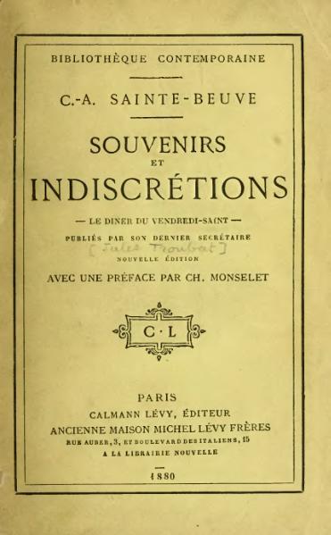 File:Sainte-Beuve - Souvenirs et Indiscrétions, 1880.djvu