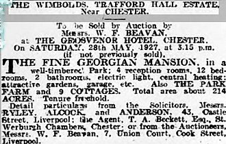 Trafford Hall - Sale notice for Trafford Hall in 1927.
