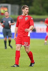 Welsh football player Sam Vokes during match against Iceland.