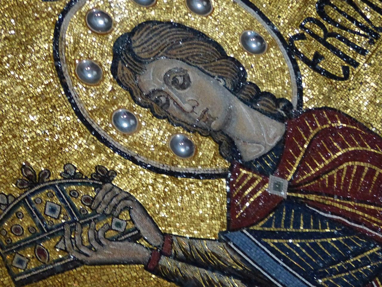 San Miniato al Monte, Mosaico absidale con Santa Maria, il Cristo Pantokrator e San Miniato, (particolare San Miniato)