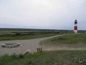 Sankaty Head Light - Sankaty Light at its current location. The former location is where the benches are