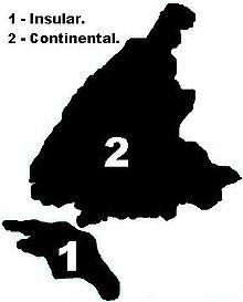 33c0e601f1 Mapa indicando a área insular e a área continental de Santos.