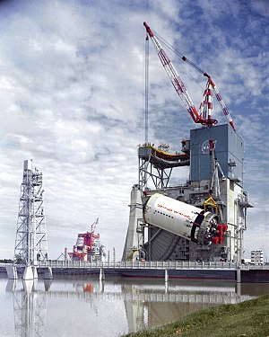 Saturn V - An S-II stage hoisted onto the A-2 test stand at the Mississippi Test Facility