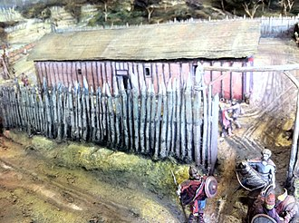 Cheddar, Somerset - Reconstruction of the Saxon royal palace at Cheddar around 1000 AD