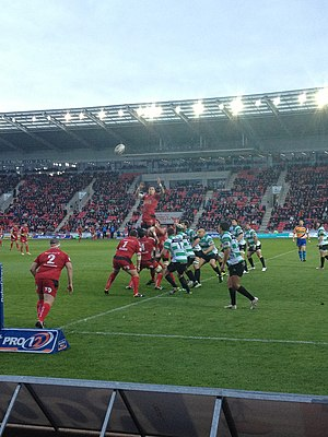 Scarlets - Scarlets players compete a line-out in a match against Benetton Treviso in 2013