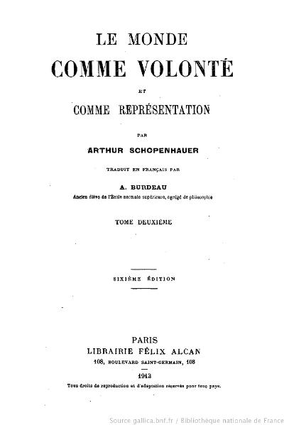 File:Schopenhauer - Le Monde comme volonté et comme représentation, Burdeau, tome 2, 1913.djvu