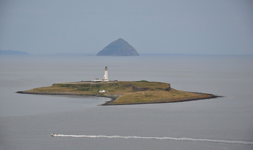 Scotland, Pladda Island and Ailsa Craig, seen from Isle of Arran