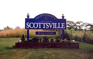Scottsville, Kentucky - Sign welcoming visitors to Scottsville