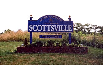 Scottsville, Kentucky - Sign welcoming visitors to Scottsville
