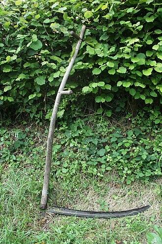 Scythe - A traditional wooden scythe.