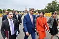 Secretaries Kerry and Pritzker walk past Rashtrapati Bhavan in New Delhi.jpg