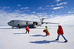 Secretary Kerry Approaches a Waiting U.S. Air Force C- 17 Cargo Plan at Pegasus Air Field in Antarctica (22750634578).jpg