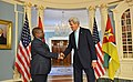 Secretary Kerry Shakes Hands With Mozambique President Filipe Jacinto Nyusi After Addressing Reporters in Washington (29051582464).jpg