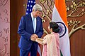 Secretary Kerry and Indian Minister of External Affairs Shushma Swaraj Pose for Photographers After Secretary Arrived to Jawarhalal Nehru Bhawan in New Delhi - Flickr - U.S. Department of State.jpg