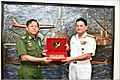 Senior General Min Aung Hlaing Commander-in-Chief Myanmar Armed Forces exchanging crests with Vice Adm HCS Bisht.jpg