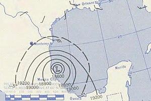 1955 Atlantic hurricane season - Image: September 19, 1955 Hurricane Hilda map