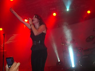 The Unforgiving - Lead vocalist Sharon den Adel during a concert in Rio de Janeiro.