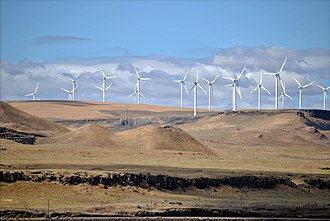 Climate change mitigation - The Shepherds Flat Wind Farm is an 845 megawatt (MW) nameplate capacity, wind farm in the US state of Oregon, each turbine is a nameplate 2 or 2.5 MW electricity generator.