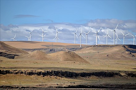 The Shepherds Flat Wind Farm is an 845 megawatt (MW) nameplate capacity, wind farm in the US state of Oregon, each turbine is a nameplate 2 or 2.5 MW electricity generator. Shepherds Flat Wind Farm 2011.jpg