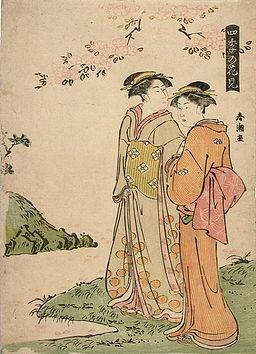 Shuncho - Viewing Flowers in Four Seasons (Shiki no Hanami), Beauties viewing cherry blossoms