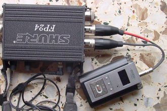 Y-cable - A Shure FP24 preamp's mono XLR line outputs connected to an Edirol R-09 recorder's 3.5mm stereo jack line input, using a Y-cable. This is an example of consolidating connectors, as described below.