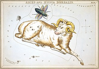 Aries (constellation) - Aries and Musca Borealis as depicted in Urania's Mirror, a set of constellation cards published in London c.1825