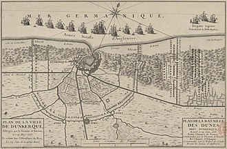 Siege of Dunkirk (1658) - Image: Siege de Dunkerque et bataille des Dunes en 1658
