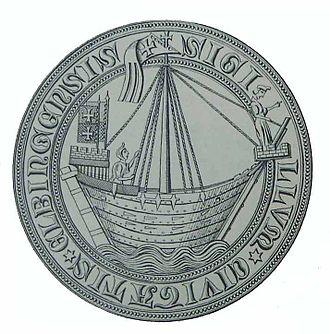 Ship replica - Image: Siegel Elbing 1350