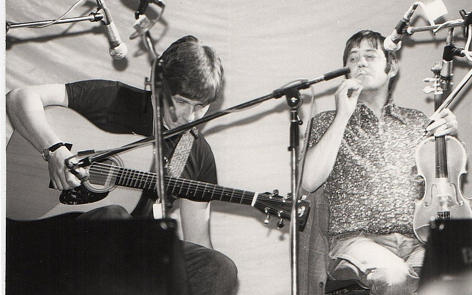 Simon Nicol and Dave Swarbrick (musicians) on stage at the 1981 Essex Festival