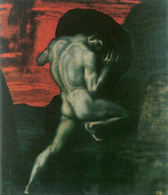Existentialism - Sisyphus, the symbol of the absurdity of existence, painting by Franz Stuck (1920)