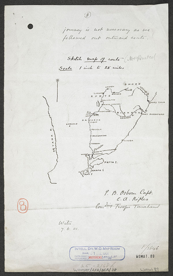 600px sketch map of route in tanaland   war office ledger. %28womat afr bea 38%29