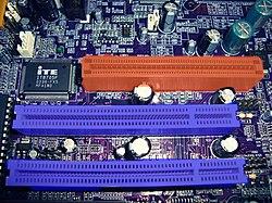 Slots AGP & PCI on Motherboard P4VMM2 MCS.JPG