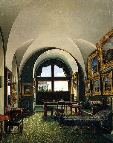 Малый кабинет в Зимнем дворце (не сохранился). Здесь император работал в последние годы и умер