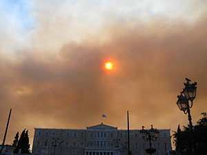 Social dilemma - Pollution in the sky of Athens, Greece.