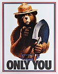 "poster of bear with hat and shovel, pointing, above words ""ONLY YOU"""
